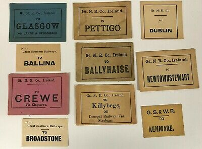 Irish Railway luggage labels Ballina Pettigo Dublin Killybegs [18556]