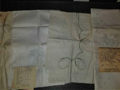 Lot Vintage Stamped Printed Linens To Embroider Dresser Scarves Pillowcases