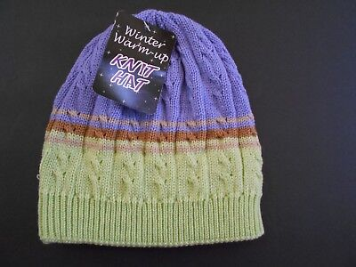 Girls Purple Green Brown Knit Winter Hat One Size Youth