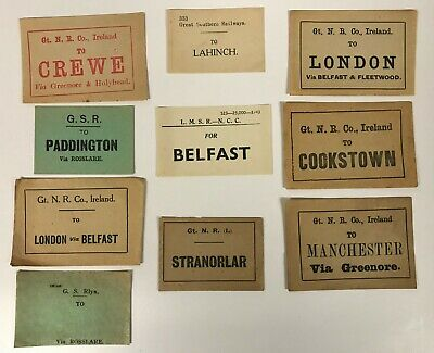 Irish Railway luggage labels Belfast Cookstown Lahinch London [18557]
