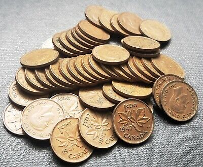 Lot of 50x 1947 Canada 1 Cent Coins - King George VI Pennies