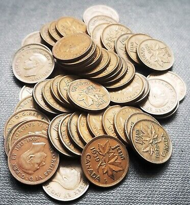 Lot of 50x 1939 Canada 1 Cent Coins - King George VI Pennies