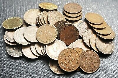 Lot of 50x 1920 Canada 1 Cent Coins - King George V Pennies