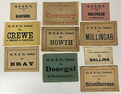 Irish Railway luggage labels Sixmilecross Bray Howeth Millingar Kanturk [18560]