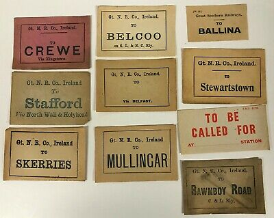 Irish Railway luggage labels Skerries Belcoo Ballina Stewartstown  [18561]