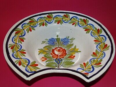 ANTIQUE BARBER BOWL FRENCH FAIENCE HAND PAINTED FLOWERS circa 19th century