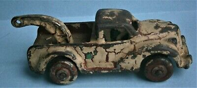 Small Painted Cast Iron Toy Wrecker made in USA, early 1900's