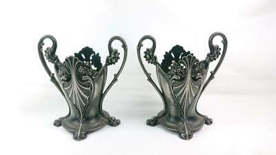 Pair Of Antique Art Nouveau Wmf Silver Plated Posy Vase Holders