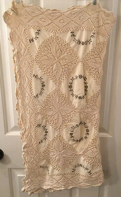 "Vintage Cotton Hand Crocheted Embroidered Tablecloth (topper) 29"" X 29"""