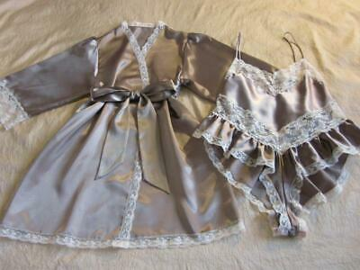 Womens Teddy + Robe Set M/L Chocolate Satin Bias-Cut Lacy Frilly NEW Vintage