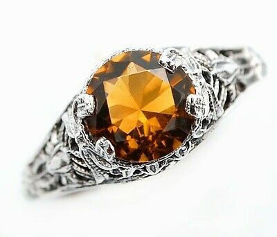 1CT Smoky Topaz 925 Solid Sterling Silver Victorian Style Ring Jewelry Sz 7, FL3