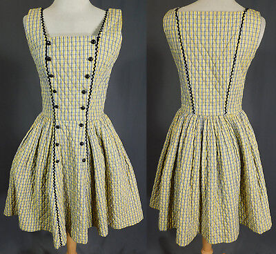 Vintage Swiss-Ette by Serbin Quilted Plaid Check Circle Skirt Dirndl Dress 1950s