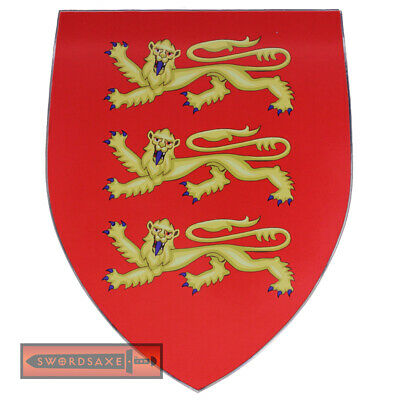 English Royal Coat of Arms Guernsey Medieval Wooden Country Display Shield Decor