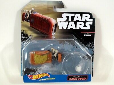 Hot Wheels Star Wars REY'S SPEEDER Die-cast vehicle with Flight Stand