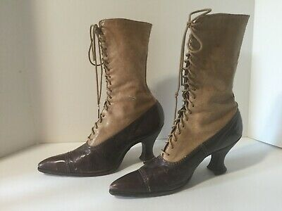 Antique Victorian 2 Tone Leather Lace Up Shoes Boots Brown/Tan