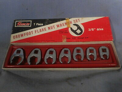 "Excellent Snap-On Crowfoot Flare Nut Wrench Set 3/8"" drive. 7 pcs 3/8""-3/4"""
