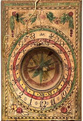 c. 1780-1800 Colorful European Maritime Pocket Compass / Sundial