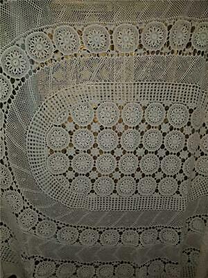 Vtg 76X62 Hand Crocheted Lace Oval Tablecloth Off White Shabby Chic Farmhouse