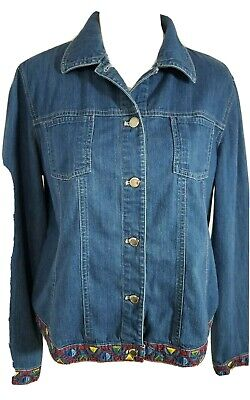 Koret Light Jacket Ladies Size M Blue Denim Embroidered Button Front Collar 3011