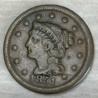 1851 Large Cent US Coins, Braided Hair