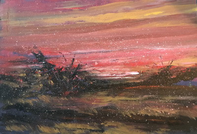 Provincetown Cape Cod Beach Sunset 10x12 in. Acrylic on panel  Hall Groat Sr.