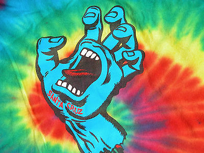 Santa Cruz Screaming Hand Skater Surf Tie Dye T Shirt Kids M