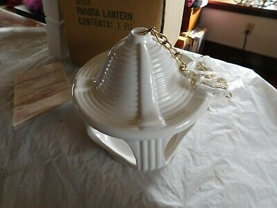 retired Partylite vintage mid century pagoda candle hanging porch patio NIB mod