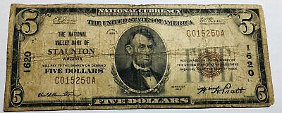 VG $5 1929 National Currency. Valley Bank of STAUNTON VA C015250A edge fray #mR
