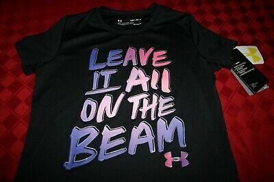Girls Under Armour Heat Gear Leave It On Beam Black Shirt Yth Medium 1327263 Nwt