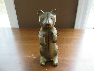 Vintage Brass Bear Standing Still Penny Coin Money Piggy Bank Round Screw 2-part