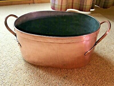 Antique Early 19th Century French Solid Copper Oval Stock Stew Casserole Pot