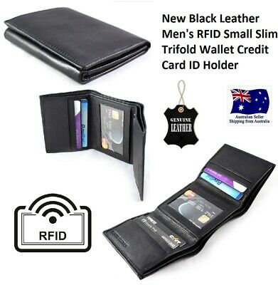 TRIFOLD REAL Black Leather Men's Small RFID Slim  Wallet Credit Card ID Holder