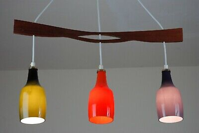 Mid Century 3 light Glass and Teak Chandelier Lamp Atomic Vintage Eames 50s 60s