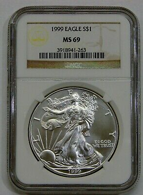 1999 - Silver American Eagle - NGC MS 69 - Brown Label