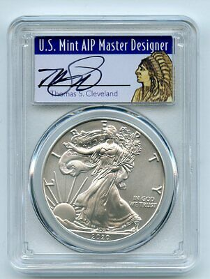 2020 $1 American Silver Eagle 1oz PCGS MS70 FDOI Thomas Cleveland Native