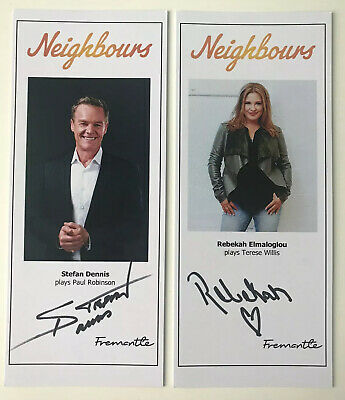 STEFAN DENNIS & REBEKAH ELMALOGLOU NEIGHBOURS HAND SIGNED Cast Fan Cards