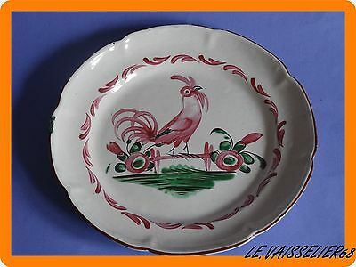 ONE ANTIQUE PLATE ROOSTER FRENCH FAIENCE 19th century