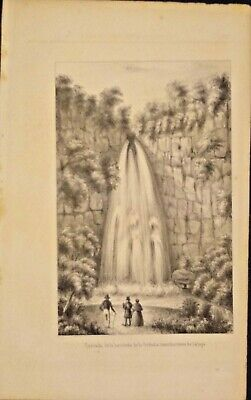 Extremely Rare Picture Of Cascading Waterfall In Jalapa, Guatemala 1840 Genuine