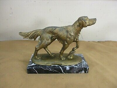 "Vintage Ornate Bronze Irish Setter Dog Figurine on Marble Base Italy 7 1/2"" x 6"""