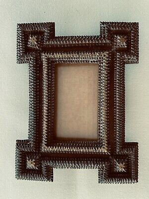 Black Forest Wooden Tramp Art Small Antique Frame Folk Art Primitiv Rustic 8@6