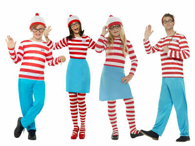 Adult Mens Womens Where's Wally Costume Kids Wenda Family Fancy Dress Stag Hen