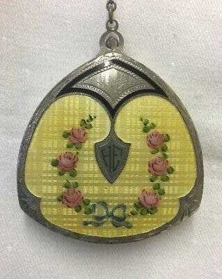 Art Deco Compact Yellow Guilloche Enamel Pink Roses Finger Ring