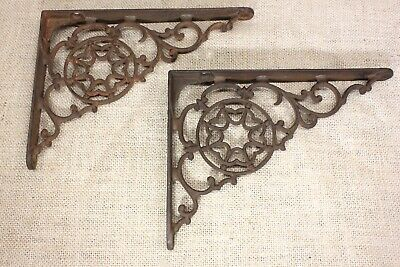 "2 old Shelf supports brackets 6 X 8"" vintage 1880's rustic iron flower wreath"