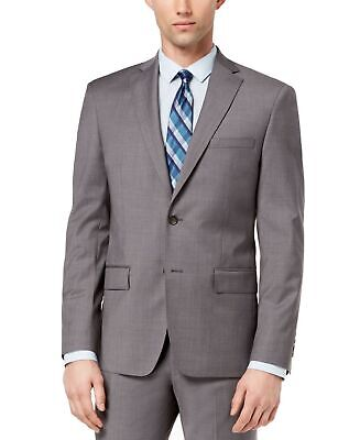 DKNY Mens Blazer Gray Size 36 Short Modern Fit Charcoal Two Button Wool $525 242