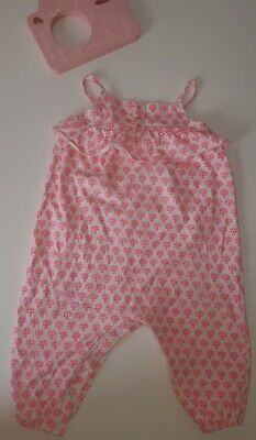 Next Little Girls Pink Floral Design Jumpsuit / Romper Outfit 9-12 Months VGC