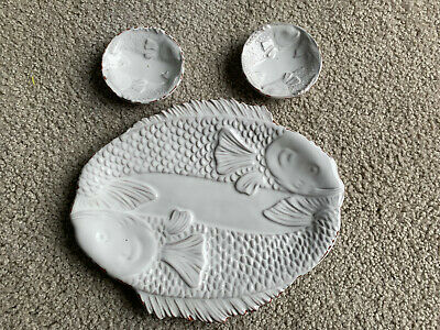 COLDWATER CREEK by Mud Pie SUSHI PLATTER & DIPPING BOWLS figural fish distressed