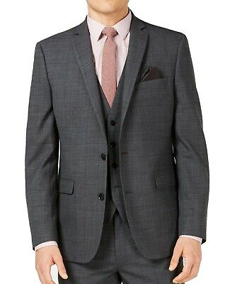 Bar III Mens Blazer Gray Size 34S Short Lim Fit Plaid Two Button Wool $425 151