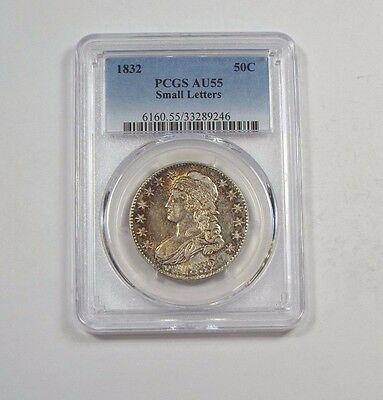 1832 Capped Bust/Lettered Edge Half $ w/Small Letters PCGS AU 55 Silver  50c