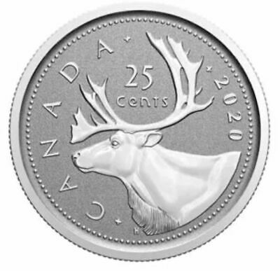 🇨🇦 REVERSE PROOF Finish, 2020 Canada 25 cents quarter caribou coin, UNC, 2020