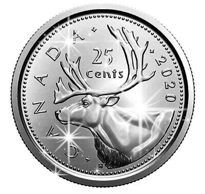 🇨🇦 PROOF FINISH, 2020 Canada 25 cents quarter caribou coin, UNC, 2020